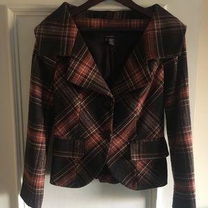 Zara tailored wool blend fabric plaid blazer